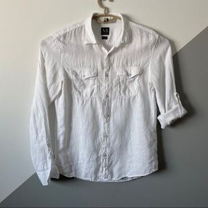 Armani Exchange M Slim Fit 100% Linen Shirt